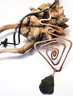 Raw Hammered Copper Geometrical Pendant  Black Lava by KapKaDesign, $67.00