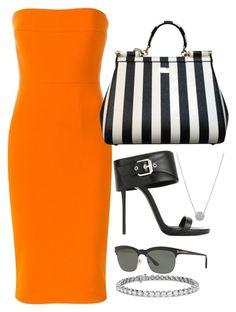 Orange, Black & White by carolineas on Polyvore featuring polyvore, fashion, style, Victoria Beckham, Giuseppe Zanotti, Dolce&Gabbana, Blue Nile, Tom Ford and clothing