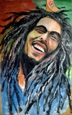 Bob Marley, the great Jamaican reggae musician and singer. This potrait amazingly showcases the ever present smile that used to be on his face. The eyes that were always twinkling and the enthusiasm in them presenting the love for spirituality that his songs represented. The painter has truly reflected his soulful persona on paper.