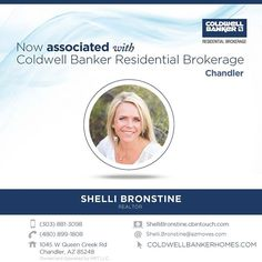 Please help us congratulate Shelli Bronstine on her recent association with Coldwell Banker Residential Brokerage! Stop by the Chandler office to say hello to Shelli. #ColdwellBankerArizona