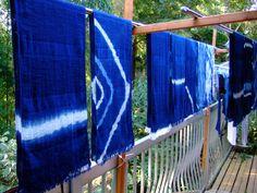 organic cotton stole indigo blue. 藍染 ストール 絞り