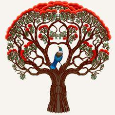 Tui bird in a Pohutakawa tree Zealand Tattoo, Maori Designs, New Zealand Art, Nz Art, Maori Art, Kiwiana, Bird Illustration, Tree Art, Bird Art