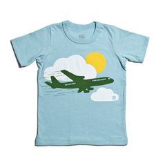 Short-Sleeve Graphic Tee - Airplane Turquoise