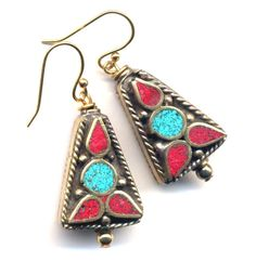 Nepal Earrings, Tibet Earrings with Turquoise and Coral, Nepal Beads on 18K Gold Filled Wire, Floral Design,  Nepal Jewelry by AnnaArt72 - pinned by pin4etsy.com