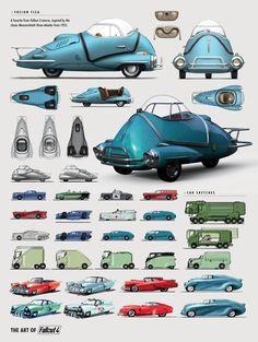 The Art of Fallout 4 - /// Vault 13 Fallout Art, Fallout Concept Art, Prop Design, Game Design, Carros Vw, Dieselpunk, Art Cars, Concept Cars, Game Art