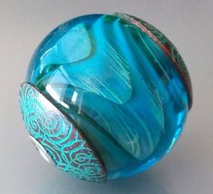 Capped Handmade Glass Lampwork Focal Bead - Tropical Waters, by Jayne LeRette, BadgerBeads