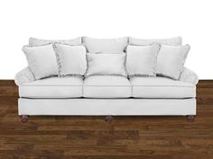 Shop for Hickorycraft Three Cushion Sofa, 797050PC, and other Living Room Sofas at Hampton House Furniture in Washington, MI. One of our all-time best sellers, this sofa has lots of style and at 100'' in length, it has room for the whole family!  It features  3-seats, 3 loose pillow backs, and 5 accent pillows, along with turned legs and a set-back paneled roll arm.