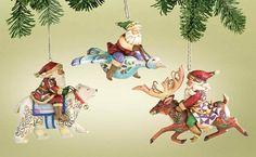 Jim Shore Santa Riding / Flying Set of 3 Ornaments - #4005771