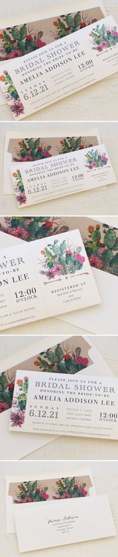 Delight your guests with these adorable cactus garden inspired bridal shower brunch invitations. These cards come fully assembled with a corresponding patterned envelope liner.
