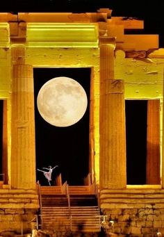 Dancing with the moon at the Acropolis ❤️ !!. #Athens #Greece !!....