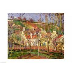 The Red Roofs or Corner of a Village Winter 1877 Canvas Art - Camille Pissarro (24 x 18)