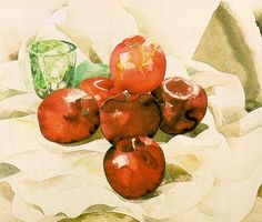Charles Demuth Still Life with Apples and a Green Glass Watercolor over pencil on paper. The Art Institute of Chicago Learn Watercolor Painting, Watercolor Fruit, Watercolor Painting Techniques, Watercolor Flowers, Charles Demuth, Still Life With Apples, Still Life Flowers, Art Institute Of Chicago, Learn To Paint