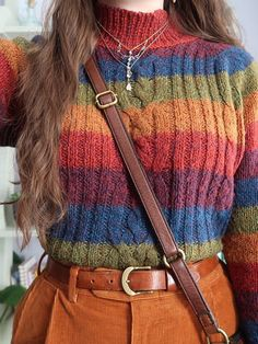 Womens Vintage Knit Sweater - Women's style: Patterns of sustainability Vintage Outfits, Retro Outfits, Vintage Dresses, Vintage Fashion, Vintage Womens Clothing, Hippie Outfits, Cute Casual Outfits, Mode Outfits, Fall Outfits