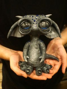 Goblin, Gargoyle, handmade unique clay creature painted with acrylics. by LauraEAbbott on Etsy
