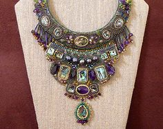 bead embroidery jewelry/Abalone shell beaded collar necklace/ seed bead work statement necklace/fresh water black pearl