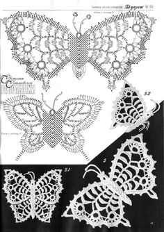 A collection of patterns - Irish lace: motives, butterflies irish crochet motifs Crochet Butterfly Pattern, Irish Crochet Patterns, Crochet Diagram, Freeform Crochet, Crochet Art, Lace Patterns, Crochet Motif, Crochet Designs, Crochet Flowers