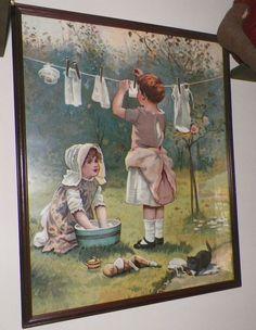 Old Vintage Children's Print Framed Lithograph Hanging Laundry Clothesline #Vintage
