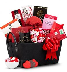 Be Mine Valentine's Day Gift Basket    This Valentine's Day lavish them with the sweet gift of luxurious gourmet confections.    Gift Includes:    Moonstruck Dark Chocolate  Chocolate Covered Fruit  Heart-Shaped Chocolate Dipped Sugar Cookies  Cherry Almond Dark Chocolate Bar  Gourmet Heart-Shaped Valentine's Day Candies, and more  Features:    Items are packaged in a lovely handled fabric basket  Includes complimentary scissors for easy opening  $49.95