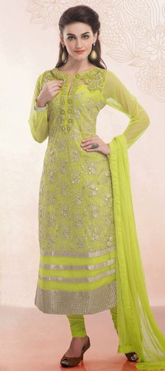 PARROT GREEN -  Love this color? You can wear it on weddings!  #Partywear #SalwarKameez #neon #Onlineshopping