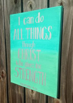 Bible Verse Canvas Art Hand Lettered Light Aqua and Mint by HisTenPercent on Etsy. 10% of every purchase goes I those in need!