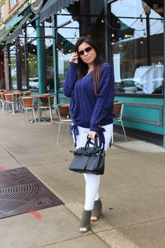 blue sweater hot miami styles white pants casual outfit OOTD call it spring  heels OOTN details - by alejandra avila tufashionpetite 631d6a824