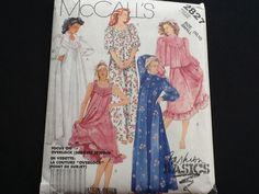 McCall's pattern 2827. Uncut misses' front buttoned robe or bed jacket, standing collar. Pullover nightgown, sleeve and length variations. by Stitchandzip on Etsy