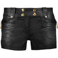 Just Cavalli - Metallic Coated-denim Shorts ($168) ❤ liked on Polyvore featuring shorts, bottoms, pant, black, print shorts, metallic shorts, pocket shorts, back zip shorts and patterned shorts