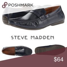 NWT Steve Madden Loafer - Polished Leather Navy polished Leather uppers with a penny loafer slip on style.  This shoe is a driver no damaging the back of the shoe when your in the car, yet still classy enough to be worn with Slacks or khakis.  Comes brand new in the box. Steve Madden Shoes Loafers & Slip-Ons