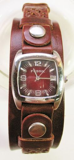 FOSSIL Brand Punched Brown Leather Womens Watch JR-9221 Square Face    #Fossil