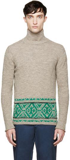 Kolor Beige & Green Knit Turtleneck