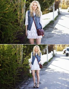 Lace and jean! xo Taste of summer (by Lena Rustan Fidjestad) http://lookbook.nu/look/3421003-Taste-of-summer