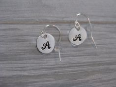 925 Sterling Silver Initial Earrings Personalized by ESDesigns14