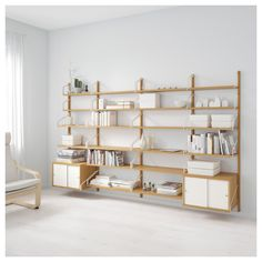 IKEA - SVALNÄS, Wall-mounted workspace combination, bamboo, white, With a spacious storage solution everything has its place; makes it easy to find your things. Hide or display your things by combining open and closed storage. Floating Shelves Bathroom, Rustic Floating Shelves, Modular Shelving, Shelving Systems, Adjustable Wall Shelving, Shelf System, Svalnäs Ikea, Ikea Regal, Wall Mounted Desk