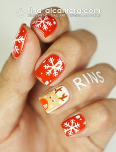 Rudolph  With Snowflakes Nail Art Design