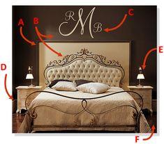 Three Initial Monogram Wall Decal Decal - Script Initial Vinyl Wall Decal - Baby Nursery Master Bedroom Wedding Decor [ITEM NO. Furniture, Interior, Monogram Bedroom, Home, Monogram Wall, Home Bedroom, Bedroom Wall, Bedroom Decor, Bedroom