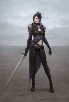 personal works by subakzzang. fantasy female woman sword
