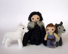 Jon, Ghost, Arya and Nymeria by LunasCrafts - crotcheted Game of Thrones! Cute. Patterns can be found here: http://www.ravelry.com/designers/kati-galusz