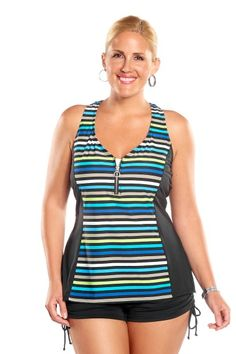 This plus size swim top by Beach House is functional and fashionable.  It offers nice coverage yet allows for freedom of movement. Wear this with one of the Beach House separates bottoms and you will be ready for almost any summer fun activity.