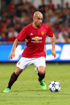 Danny Webber of the Manchester United Legends controls the ball during the Manchester United Legends and the PFA Aussie Legends match at nib Stadium on March 25, 2017 in Perth, Australia.