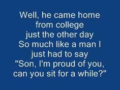 """-""""Cats In the Cradle"""" by Cat Stevens (with lyrics). How many fathers miss the mom.- """"Cats In the Cradle"""" by Cat Stevens (with lyrics). How many fathers miss the moment with their sons (and daughters too!) – Don't want to repeat the mistake. Music Lyrics, Music Songs, Music Videos, 70s Music, Rock Music, Karaoke, Rock Club, Tempo Music, Guys Be Like"""