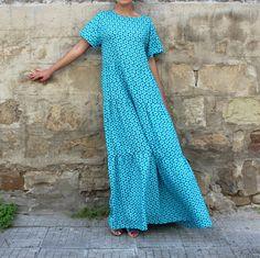 Floral Maxi Dress Blue Maxi Dress Boho Maxi by cherryblossomsdress