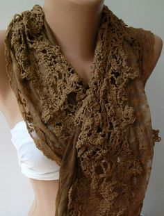 Caramel Brown  Elegance Shawl / Scarf with Lace Edge b