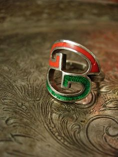 RARE Vintage GUCCI GG Red Green Logo Ring Silver 925 Enamel Couture Jewelry   #GUCCI