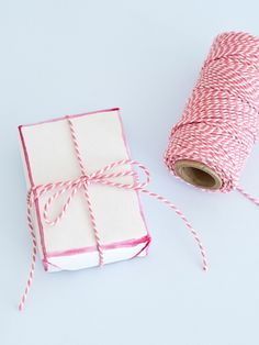 Rose pink and white bakers' twine