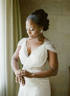 Sheer gathered sleeve wedding dress: http://www.stylemepretty.com/2016/02/23/trend-short-sleeve-wedding-dresses/