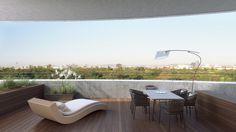 Modern apartment interior visualization in 3d Visualization, Apartment Interior, Luxury Apartments, Outdoor Furniture, Outdoor Decor, Sun Lounger, Terraces, Architecture, Urban