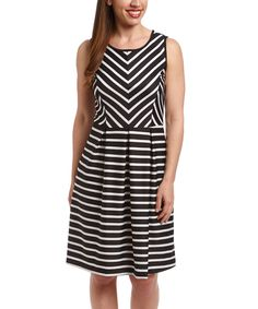 Look at this Black & White Stripe Fit & Flare Dress on #zulily today!
