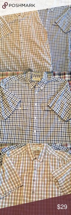 Lot of 2 Button Up Plaid tops Chambray fabric, S/S. 2 breast pockets, buttoned. Beige top has slight underarm darkening, pictured. Orvis Shirts Casual Button Down Shirts