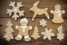 Picture of Gingerbread Cookies with White Decoration on Wood, Christmas and Winter Background stock photo, images and stock photography. Winter Background, White Decor, Gingerbread Cookies, Desserts, Christmas, Food, Google, House, Gingerbread Cupcakes