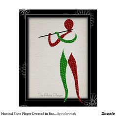 """Musical Flute Player Dressed in Bandana Poster - n abstraction of a flute player """"dressed"""" in a green and red railroad bandana patterns, steps just slightly out of a frame against a black background with a light scattering of white flower outlines. It's a great gift for anyone, including yourself. Add extra points if it's for a flute player. #music #flute"""